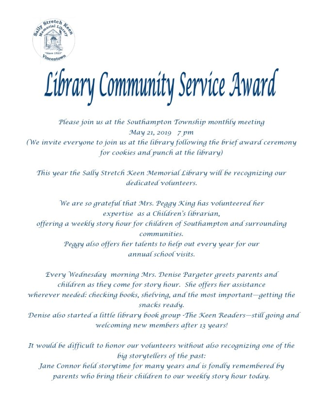 Community Service Award 2019
